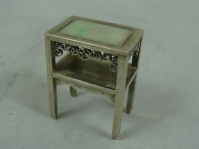 CHINESE EXPORT solid silver & JADE , MINIATURE TABLE , c1900, 30gm
