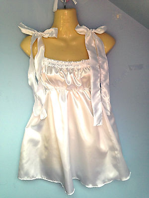 white satin dress adult baby fetish sissy french maid cosplay fits 36-46 cd tv /