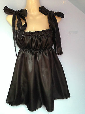 black satin dress adult baby fetish sissy french maid cosplay fits 36-46 cd tv /