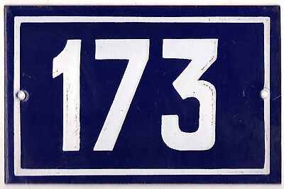 Old blue French house number 173 door gate plate plaque enamel metal sign steel