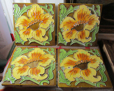 Never Used 5 Identical NEATCO Hand Painted Ceramic Tiles Yellow Calla Lily