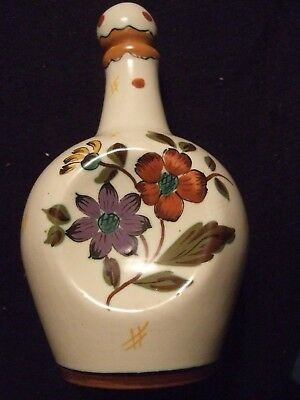 GOUDA PINCH BOTTLE DECANTER w music box base Holland #3390 Jimmy hp flowers, crm