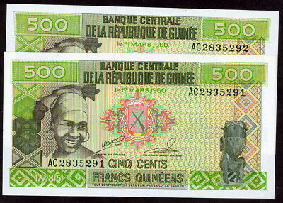 Guinea 500 Francs 1985 Consecutive Serial # 2 Notes !!!! Unc