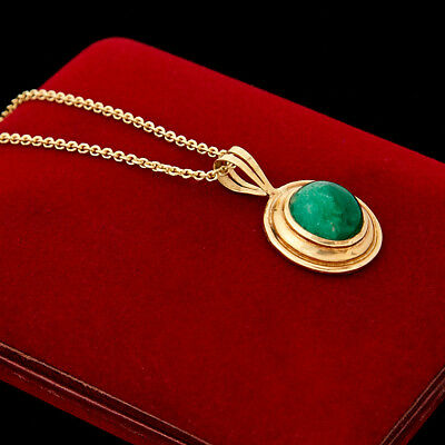 Antique Vintage Art Deco Retro 18k 22k Gold Colombian Emerald Necklace Pendant