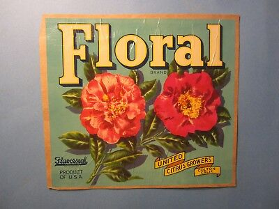 Old Vintage 1940's - FLORAL Brand - Citrus Label -  COLTON California