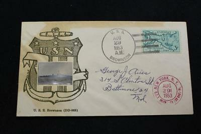 Naval Cover 1953 Ship Cancel Ships Picture Cachet Uss Brownson (Dd-868) (3446)