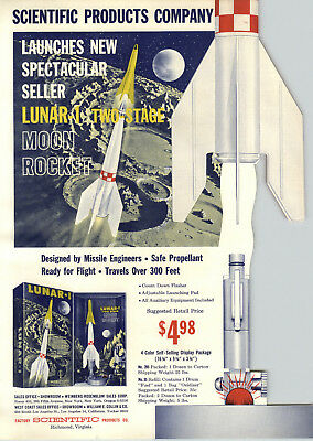 1956 PAPER AD Die Cut Factory scientific products Co Toy Lunar 1 Moon Rocket