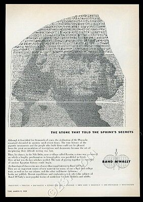 1959 Sphinx Rosetta Stone ancient Egypt theme Rand McNally vintage print ad