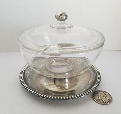 Sterling Silver & Glass Sugar Bowl Not Weighted 11.9 Ounces