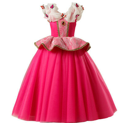 Flower Girl Dress Aurora Princess Cosplay Party Holiday Halloween Fancy Costumes