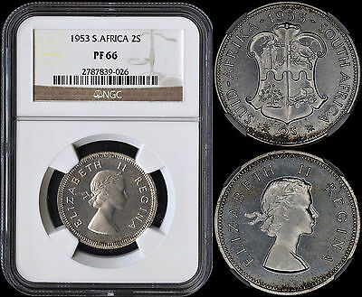 South Africa 2 Shillings 1953 Silver Proof (Ngc Pf66) *lightly Toned*