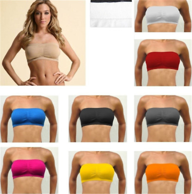 Womens Strapless Padded Bra Bandeau Tube Top Removable Pads Seamless Crop Beach