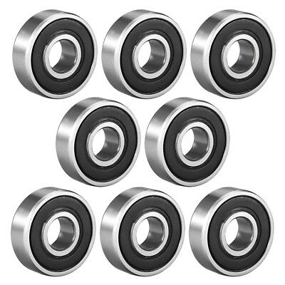 Deep Groove Ball Bearing 608RS Double Sealed, 8mmx22mmx7mm Carbon Steel, 8Pcs
