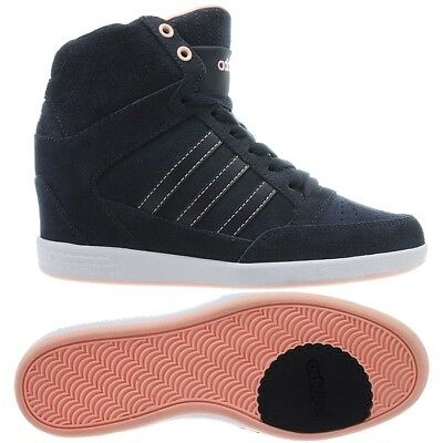 ADIDAS SUPER WEDGE W blue pink women's suede high top sneakers wedges NEW