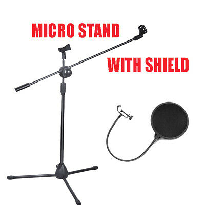 Telescopic Boom Microphone Stand Mic Holder Tripod 1 To 2M With Filter