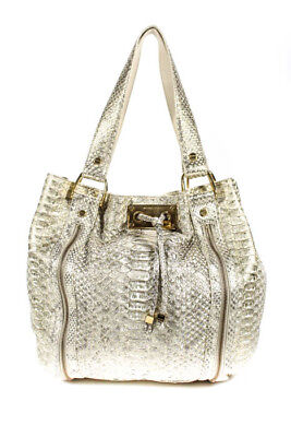 5491bbcc0c Michael Kors Collection Beige Gold Metallic Python Tonne Bag Handbag