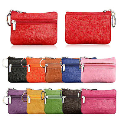 Women Men Leather Mini Coin Change Purse Wallet Clutch Zipper Small Soft Bag