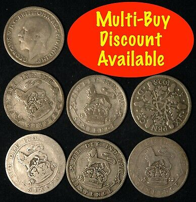 Sixpence George V 1911  -  1920 Silver Choose your Date Lucky Weddings Birthday