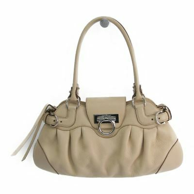 Salvatore Ferragamo Gancini AU-21 6317 Leather Tote Bag Light Beige BF319090 f5c438a41b62f