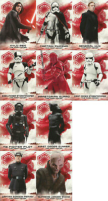 Star Wars Last Jedi Series 2 ~ SOLDIERS OF THE FIRST ORDER 10-Card Insert Set
