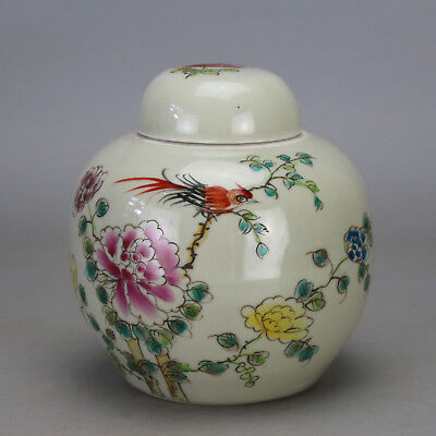 Chinese old famille rose porcelain bird & flower pattern tea caddy  c02