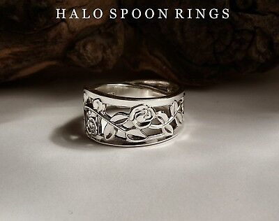 Stunning Ladies Swedish Silver Spoon Ring With Pretty Trailing Rose Detail 1968