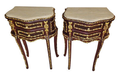 Magnificent Pair Louis XV ebonised gilded side tables commodes