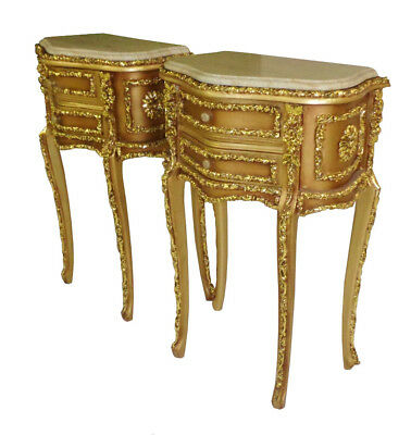 Pair of Magnificent Louis XV GOLDEN carved side tables commodes