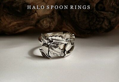 Beautiful 1935 Finland Silver Spoon Ring With Pretty Trailing Flower Only One!!!