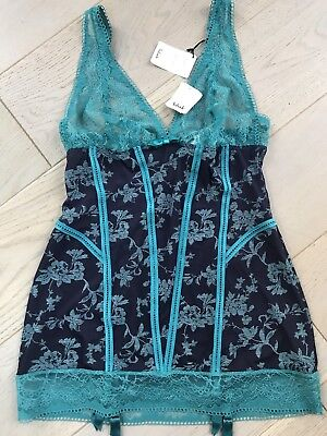BNWT Aubade Nightwear Hollywood Pin Up Lingerie Navy Emerald New L Suspender