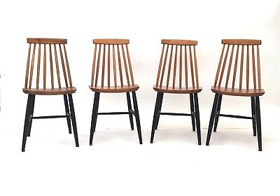 4 x Vintage Retro Mid Century 1960s Teak & Black Danish Modernist Dining Chairs