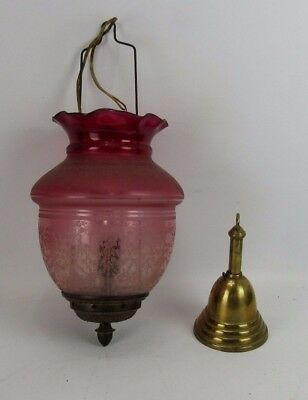 Antique Acorn Etched Cranberry Art Glass Shade Hanging Light Fixture