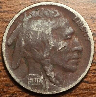 1920 D United States Buffalo Head Nickel Coin Denver Mint Fine Condition