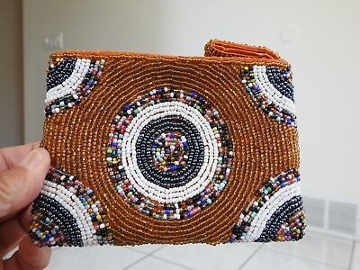 BEADED COIN PURSE concentric circles on bronzy beads beading