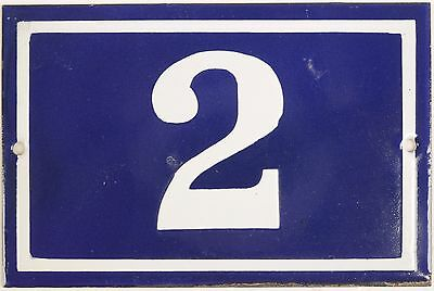 Old blue French house number 2 door gate plate plaque enamel metal sign steel