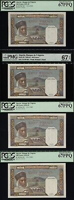 Tt Pk 85 1939-45 Algeria 100 Francs 4 Sequentially Numbered Set Of 4 Pmg 67 Epq