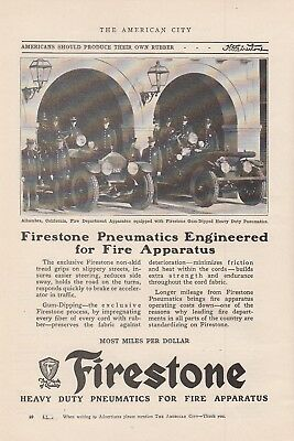 1926 Firestone Pneumatic Tires Ad: Alhambra CA California Fire Department