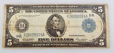 1914 - $5LARGE SIZE Bill - Federal Reserve Note - Blue Seal -Dallas, TX ~#5893