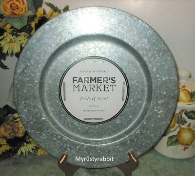 Farmer S Market Galvanized Charger Plates Set Of 4 Rustic