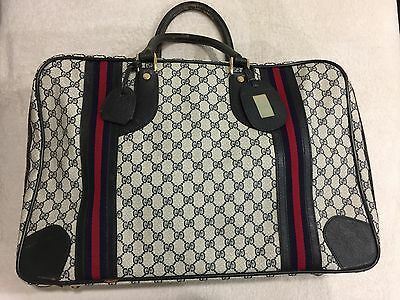 d04dba8528d Vintage🔥 GUCCI GG Logo Monogram Navy Leather Carry On Travel Bag Luggage  Unisex