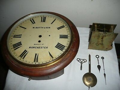 School / Station Wall Clock,Fusee Movement,W Batty & Son Manchester.Restoration