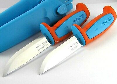 2 pc LOT Mora Morakniv Basic 546 STAINLESS Knife BLUE ORANGE LIMITED EDITION