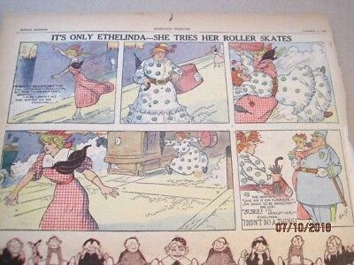 5 rare 1908-09 SUNDAY COMICS~Its only Ethelinda & Ted's Object Spelling Lesson