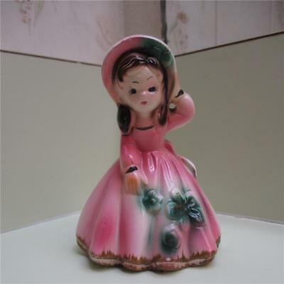 Vintage Ceramic Little Girl In Pink Dress & Hat On A Windy Day Bell Figurine