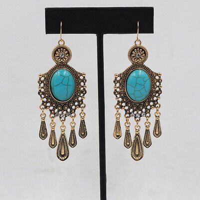 Vintage Tribal Ancient  Gold Plated Green Turquoise Big Stone Dangle Earrings