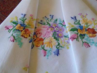 Pretty Vintage Hand Embroidered Linen Tablecloth~English Country Garden Flowers
