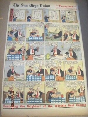 7 VTG POPEYE SEGAR SUNDAY PAGES + PAPER DOLLS OF TILLIE THE TOILER W/Sunday pgs