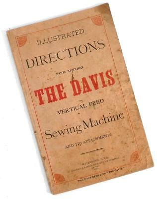 1881 DAVIS SEWING MACHINE illustrated directions owners manual instruction book