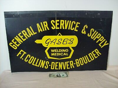 "1950's~GASES~GENERAL AIR SERVICE & SUPPLY~32""x20"" TWO SIDED TIN ADVERTISING SIGN"