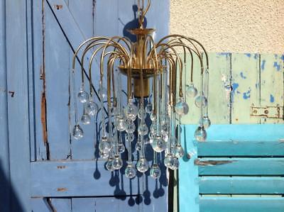 Large Vintage 70's Chandelier Murano Glass Dragon Tear Droplet Brass Retro Chic